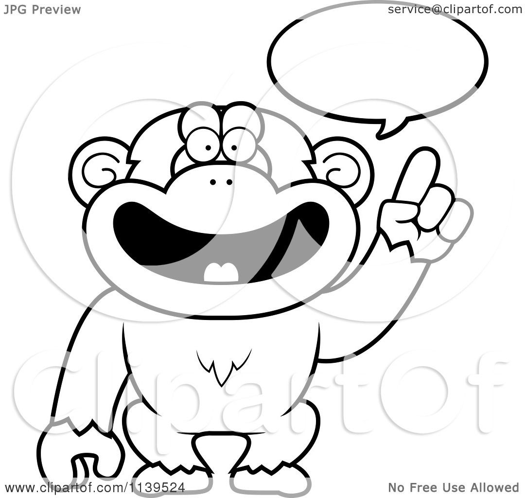 Cartoon Clipart Of A Black And White Smart Chimp Talking