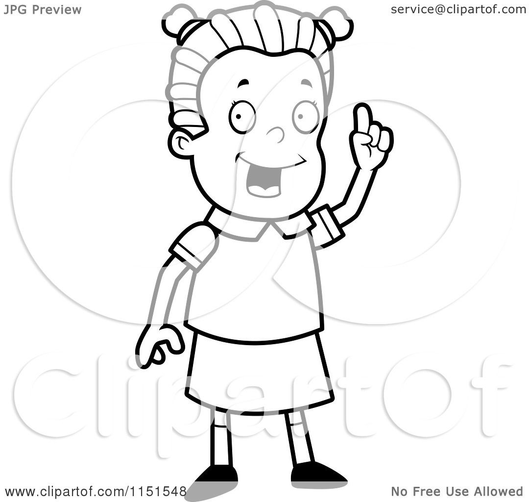 Cartoon Clipart Of A Black And White Smart School Girl Holding Up A Finger