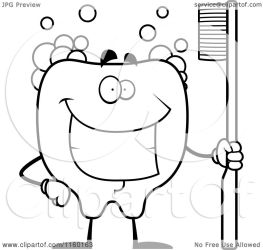 brush smiling cartoon clipart tooth coloring holding bubbles thoman cory outlined vector