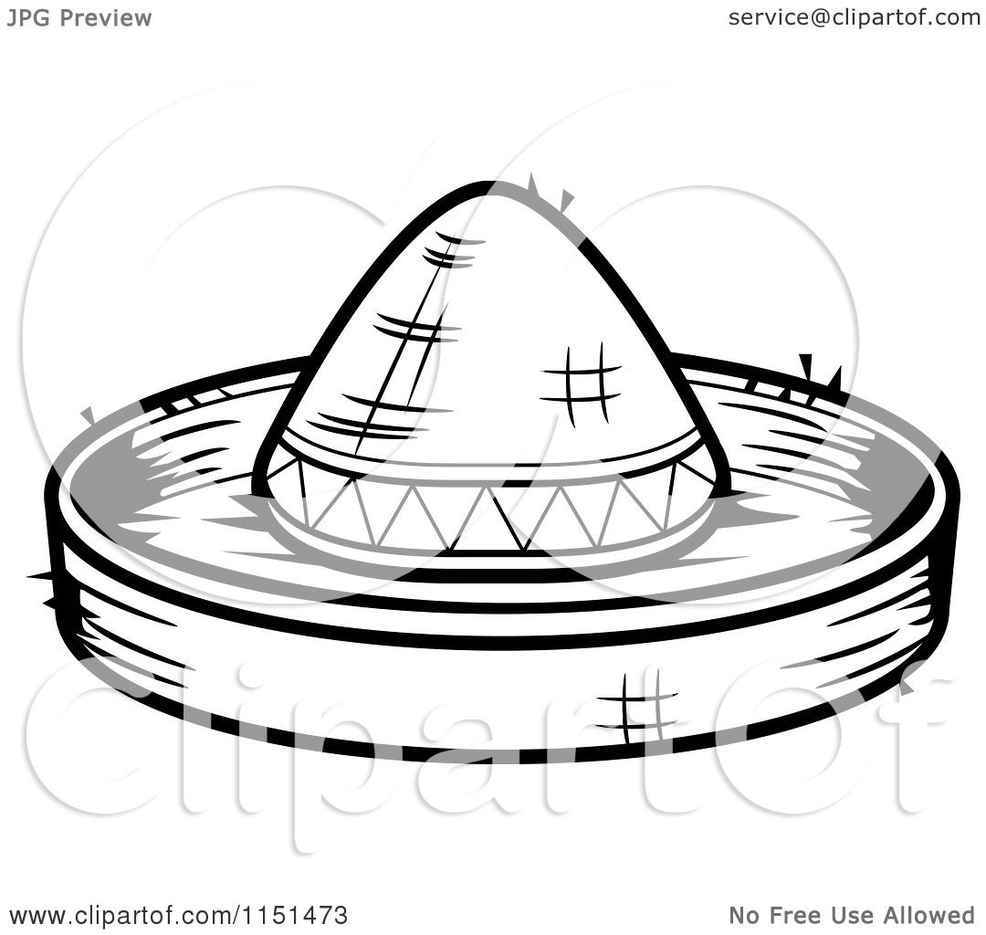 Cartoon Clipart Of A Black And White Sombrero Hat