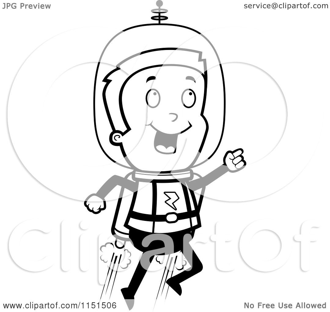 Cartoon Clipart Of A Black And White Space Man Using A