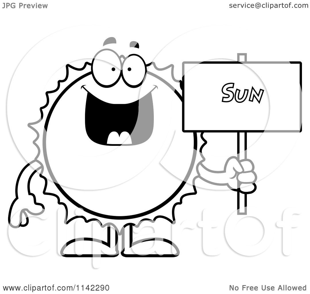 Cartoon Clipart Of A Black And White Sun Holding A Sign