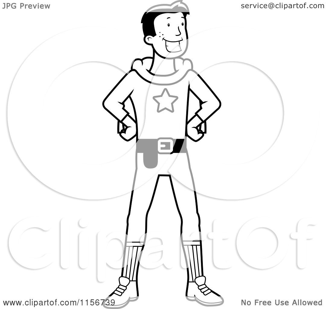 Cartoon Clipart Of A Black And White Super Hero Standing