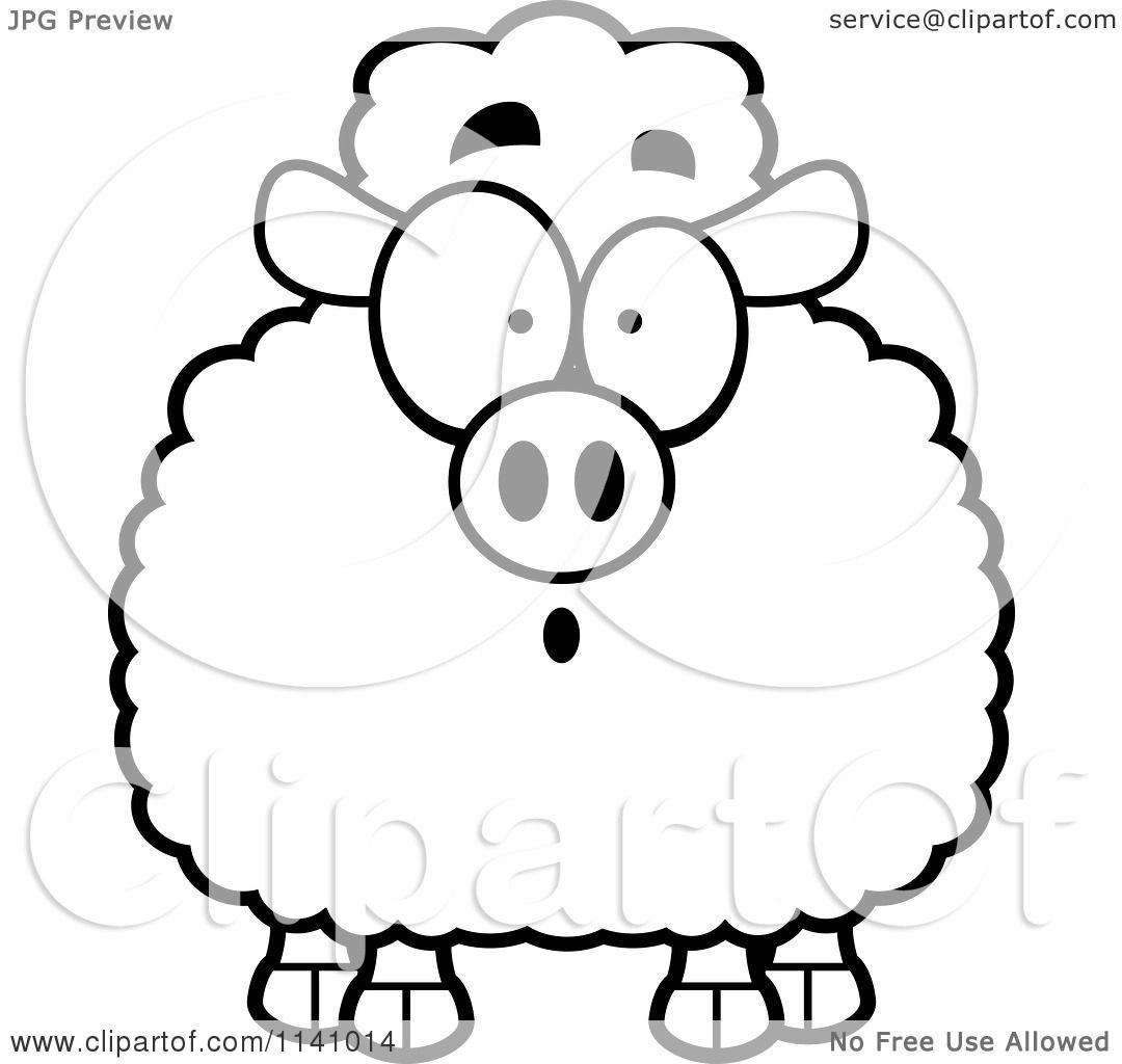 Cartoon Clipart Of A Black And White Surprised Sheep