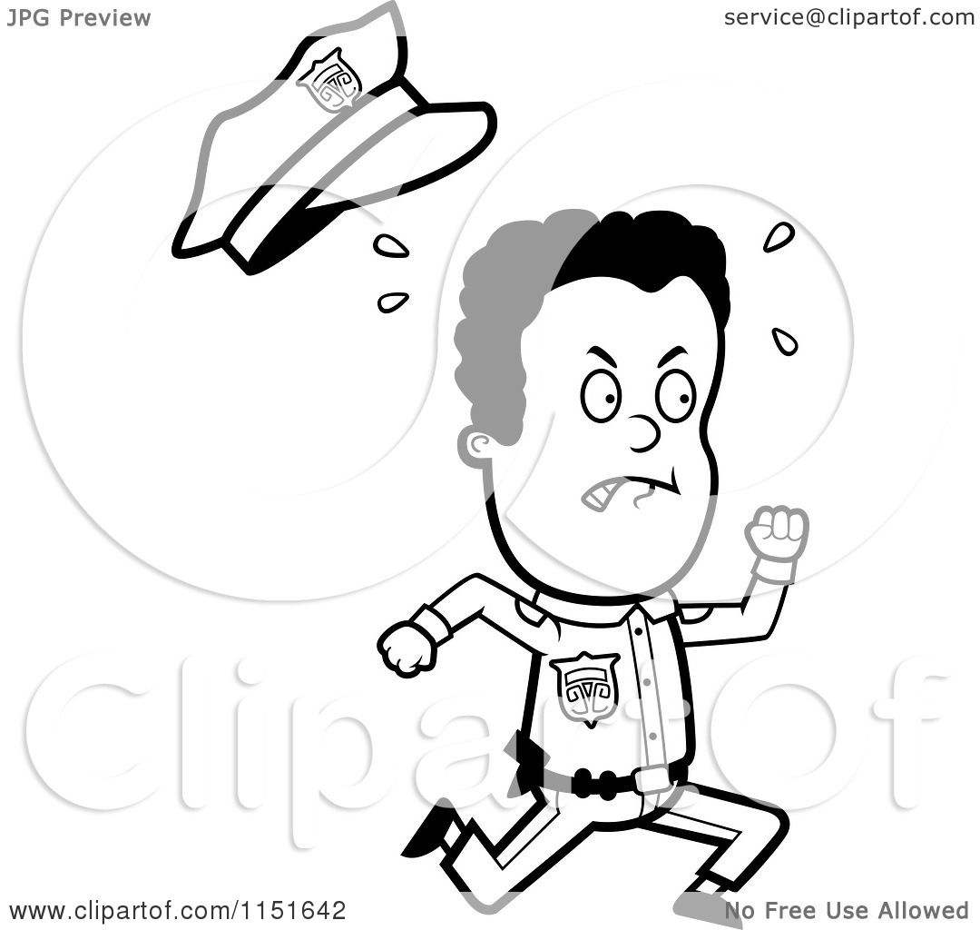 Cartoon Clipart Of A Black And White Sweaty African American Police Officer Running