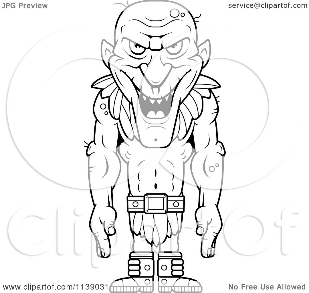 Cartoon Clipart Of A Black And White Tall Fantasy Goblins