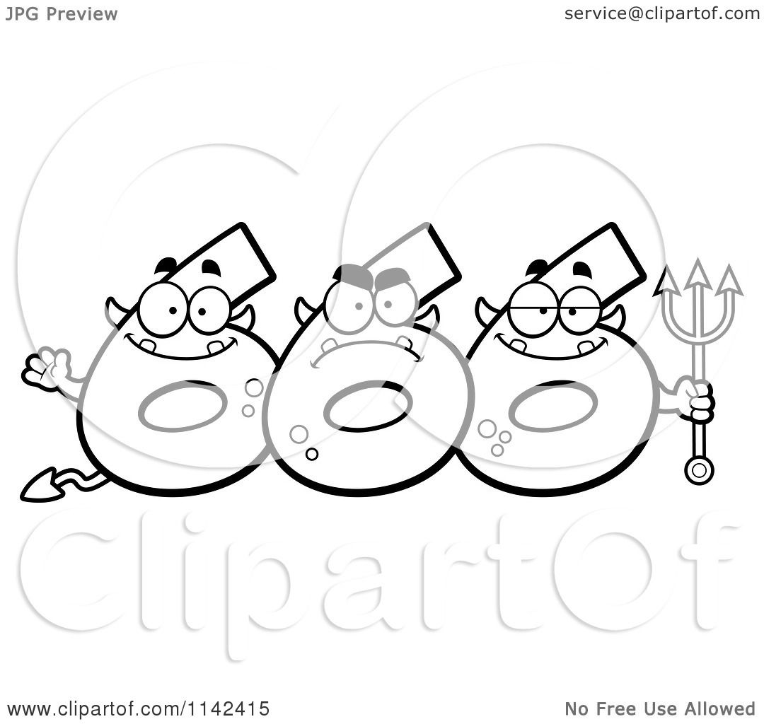 Cartoon Clipart Of A Black And White Three Number Six 666