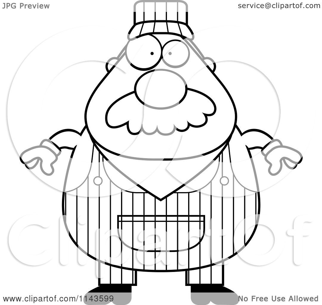 Cartoon Clipart Of A Black And White Train Engineer