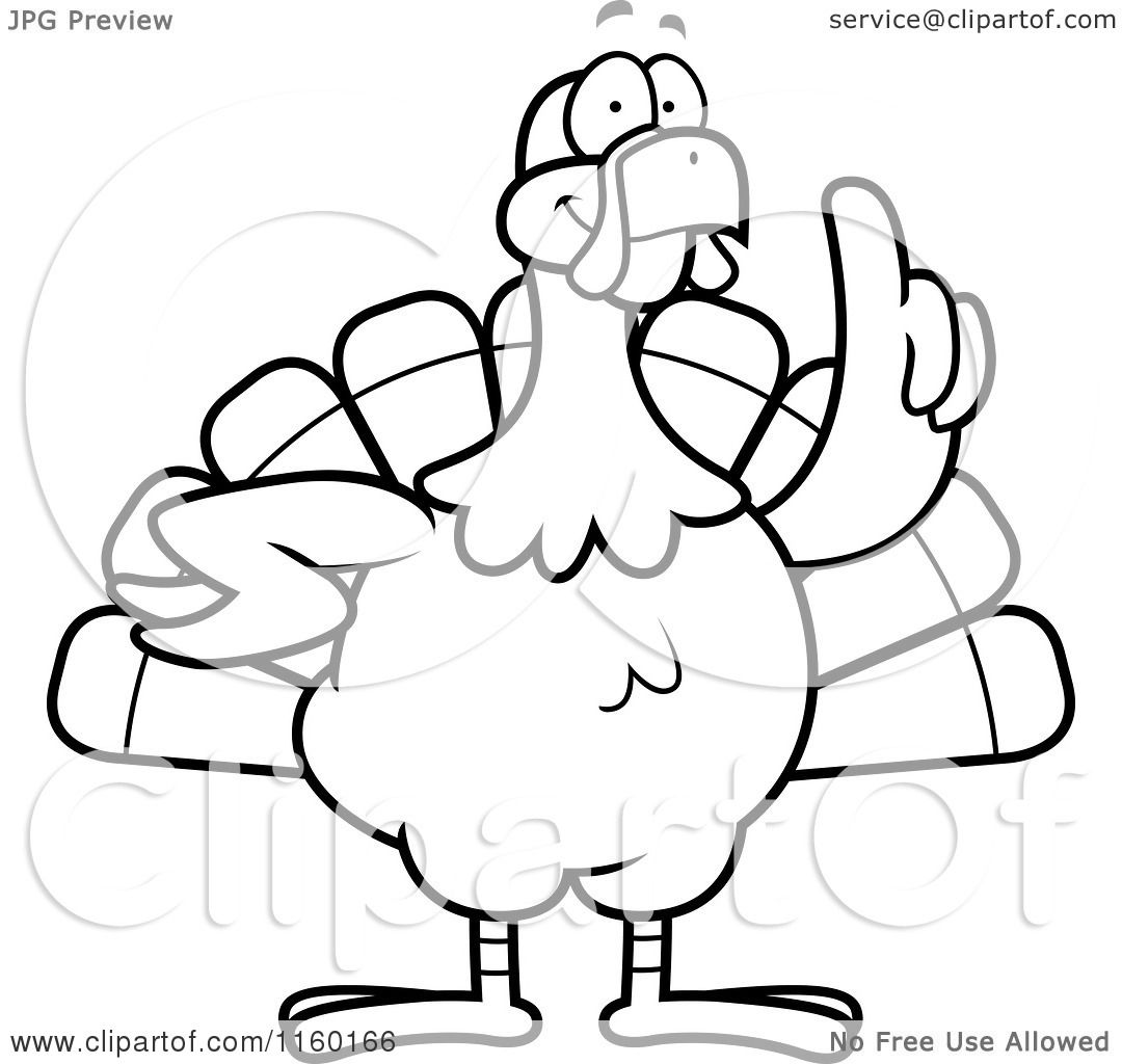 Cartoon Clipart Of A Black And White Turkey Bird With An