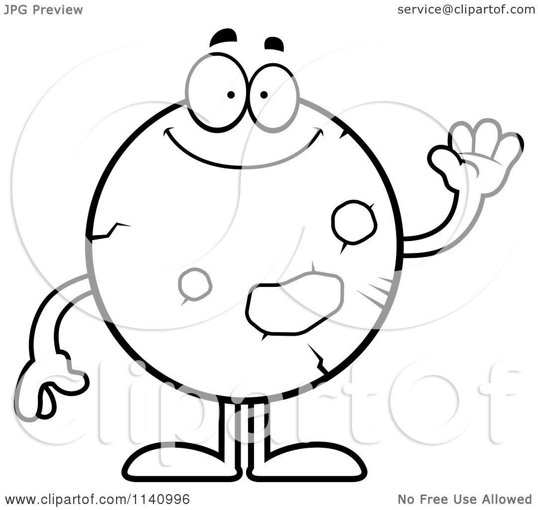 Cartoon Clipart Of A Black And White Waving Planet Mars
