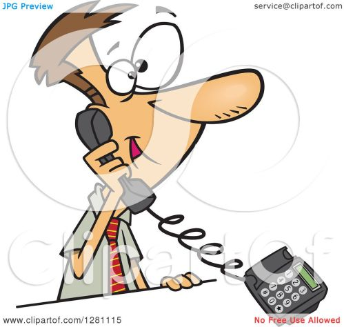 small resolution of cartoon clipart of a happy caucasian business man talking on a landline telephone royalty free vector illustration by toonaday