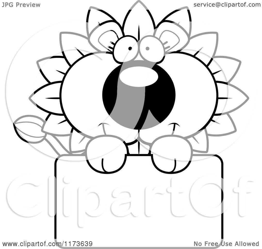 Cartoon Clipart Of A Happy Dandelion Flower Lion Mascot
