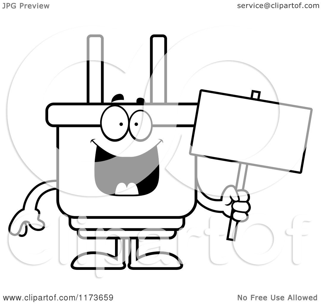 Cartoon Clipart Of A Happy Electric Plug Mascot Holding a