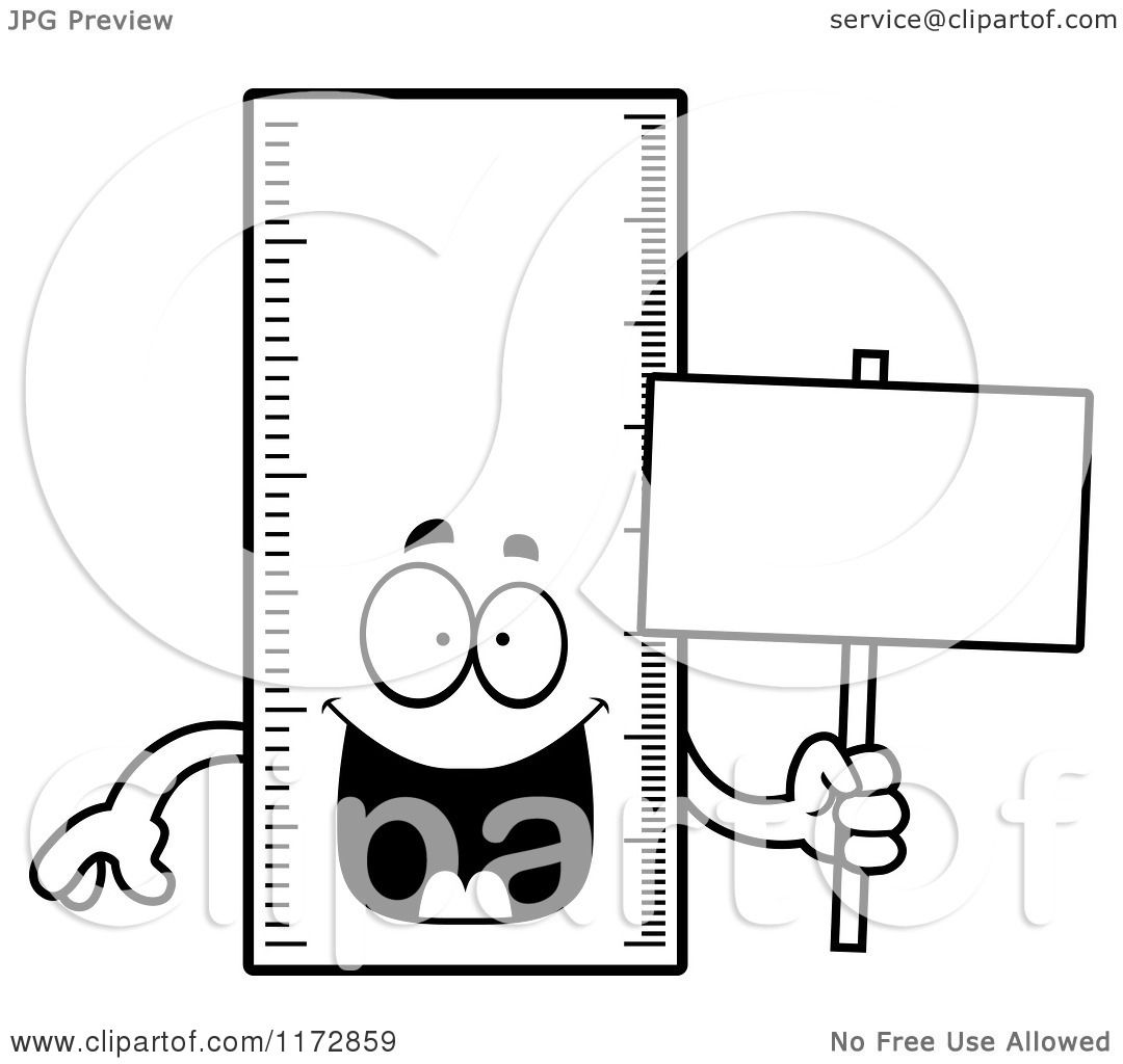 Cartoon Clipart Of A Happy Ruler Mascot Holding A Sign