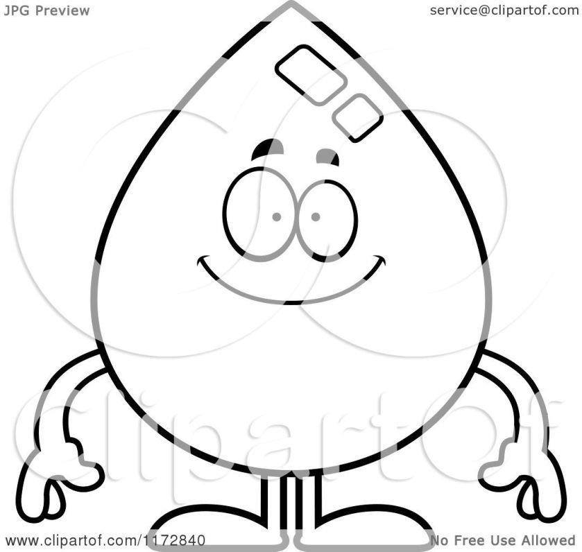 cartoon clipart of a happy water drop mascot  vector