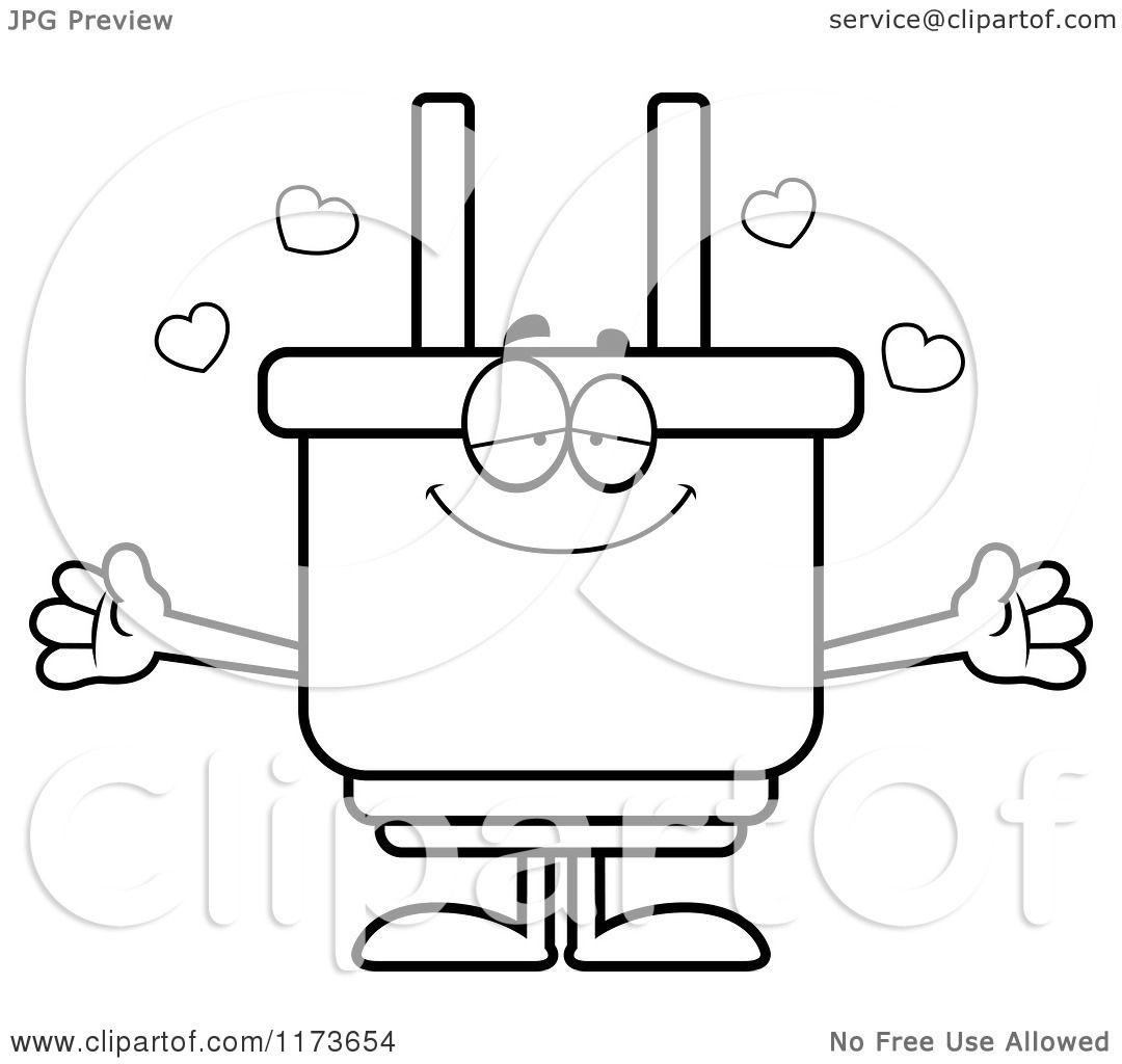 Cartoon Clipart Of A Loving Electric Plug Mascot Wanting A