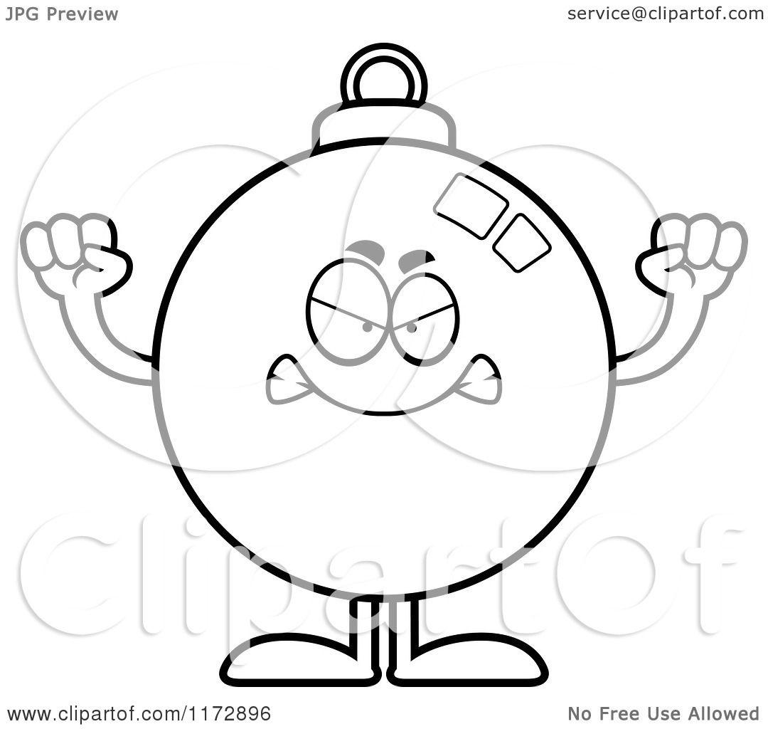 Cartoon Clipart Of A Mad Christmas Ornament Mascot