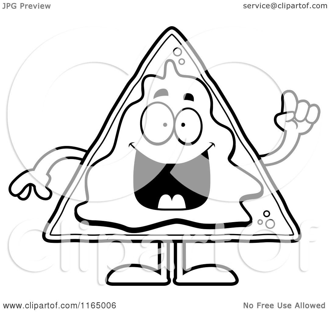 Cartoon Clipart Of A Nacho Mascot With An Idea