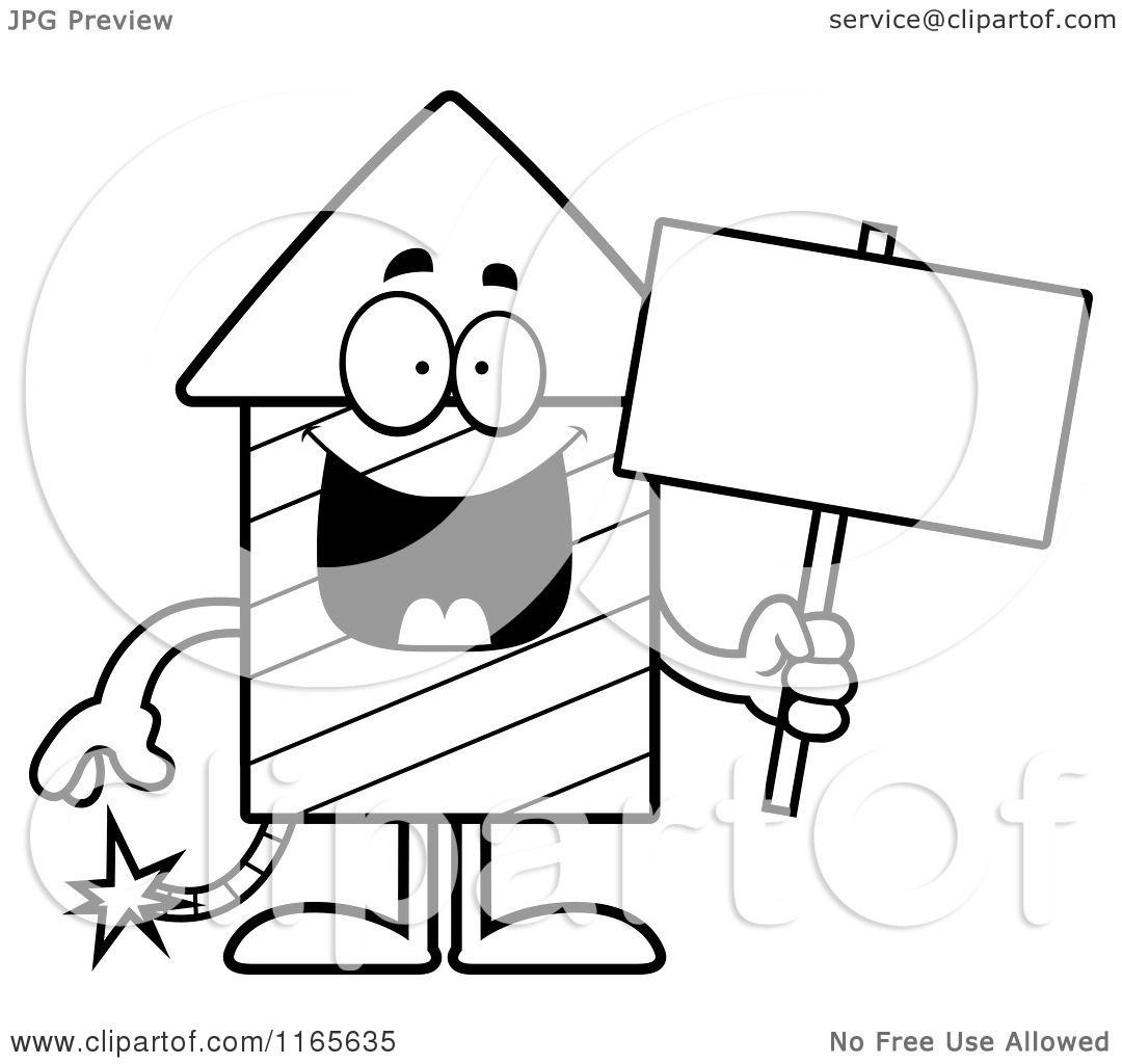 Cartoon Clipart Of A Rocket Firework Mascot Holding a Sign