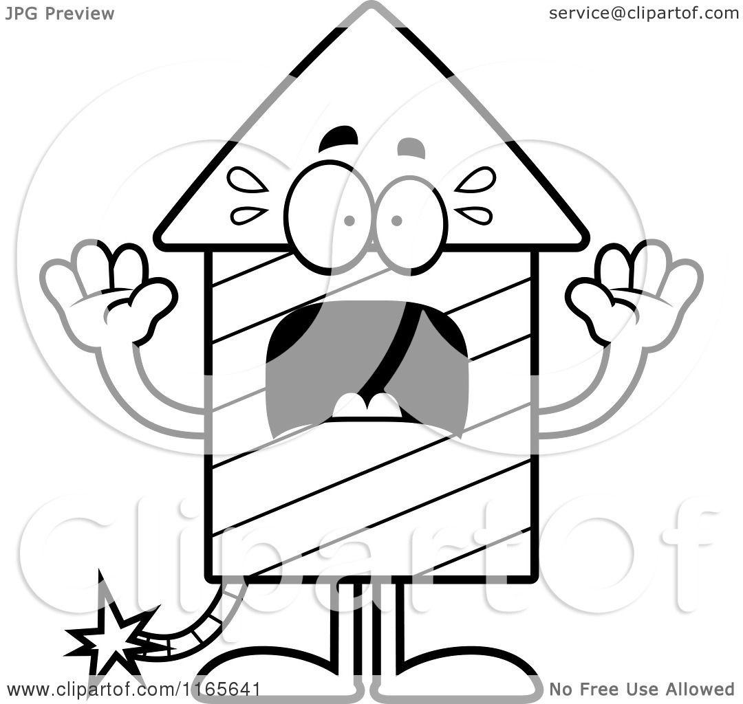 Cartoon Clipart Of A Scared Rocket Firework Mascot