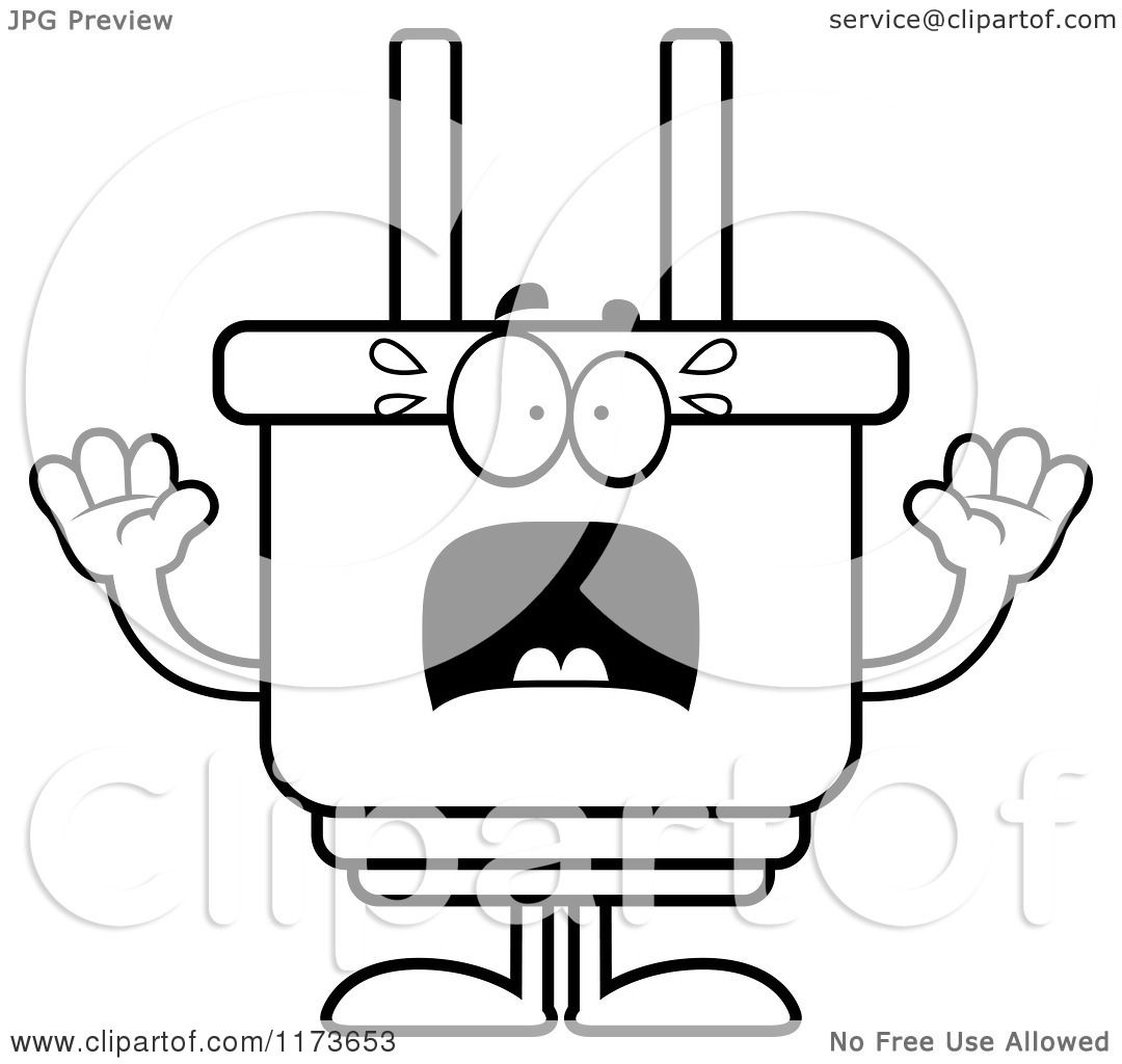 Cartoon Clipart Of A Screaming Electric Plug Mascot