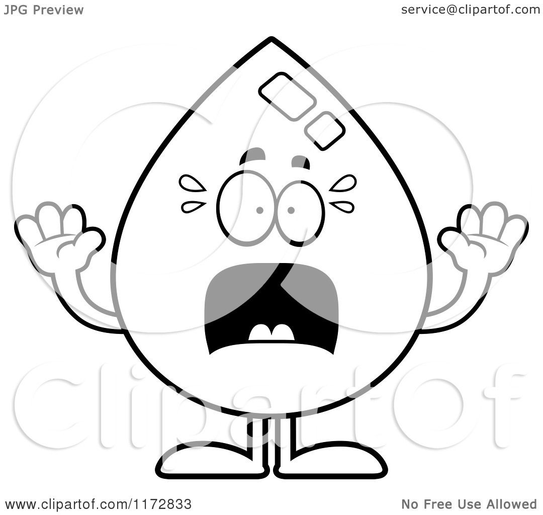 Cartoon Clipart Of A Screaming Water Drop Mascot