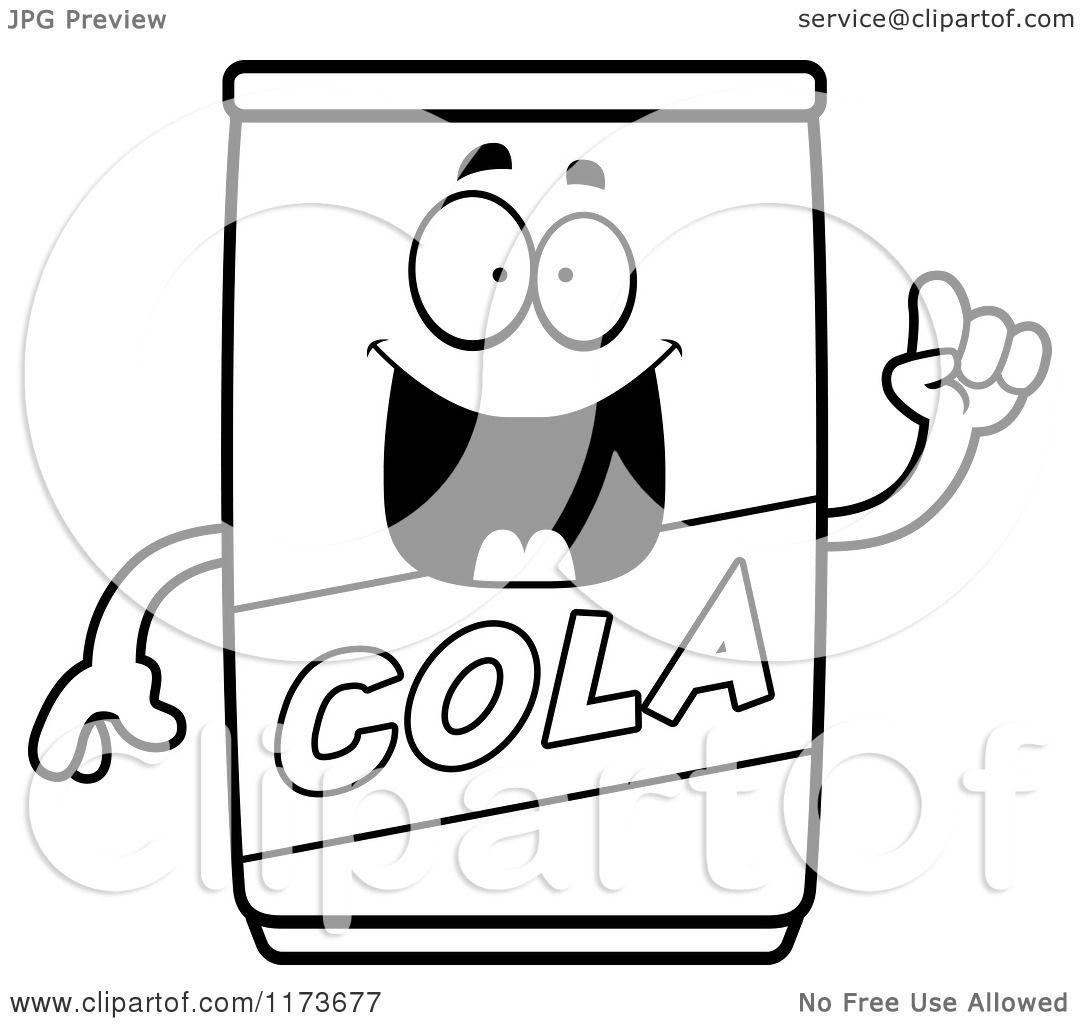 Cartoon Clipart Of A Smart Cola Mascot with an Idea
