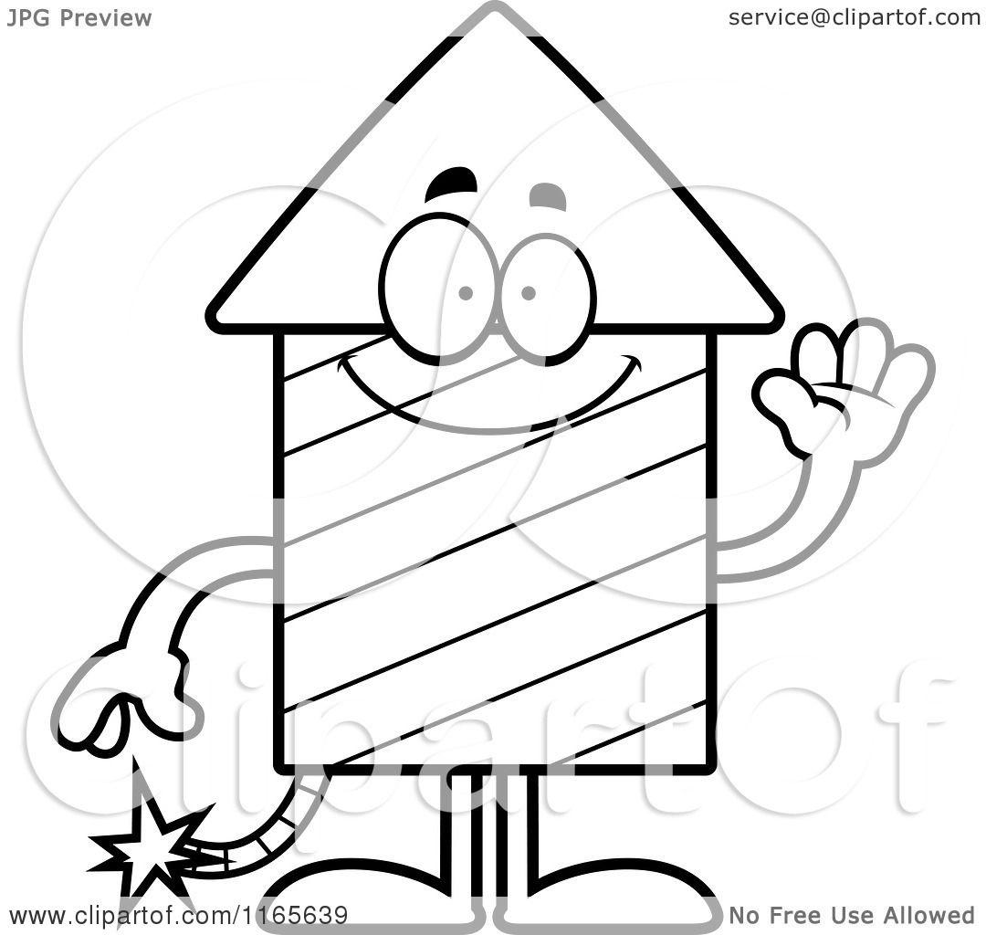 Cartoon Clipart Of A Waving Rocket Firework Mascot
