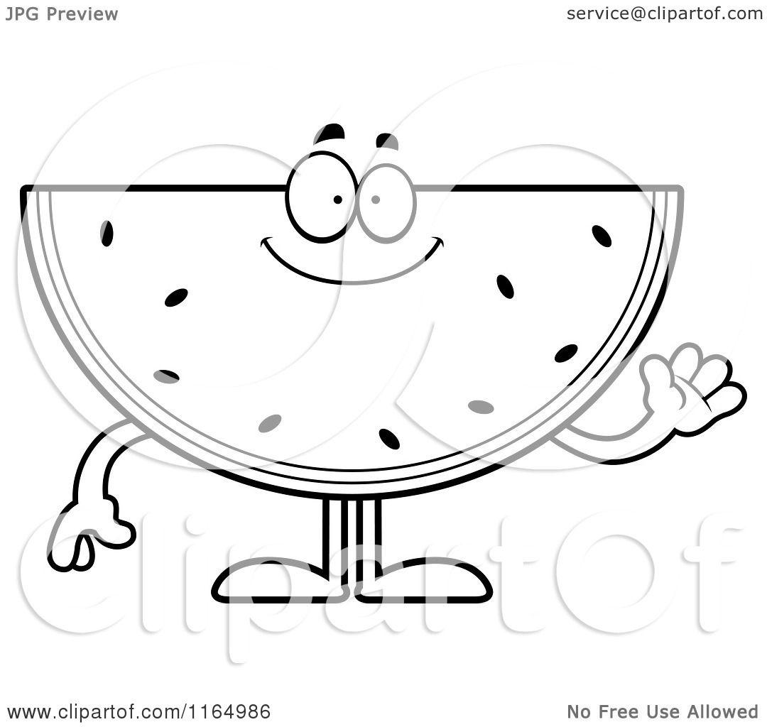 Cartoon Clipart Of A Waving Watermelon Mascot