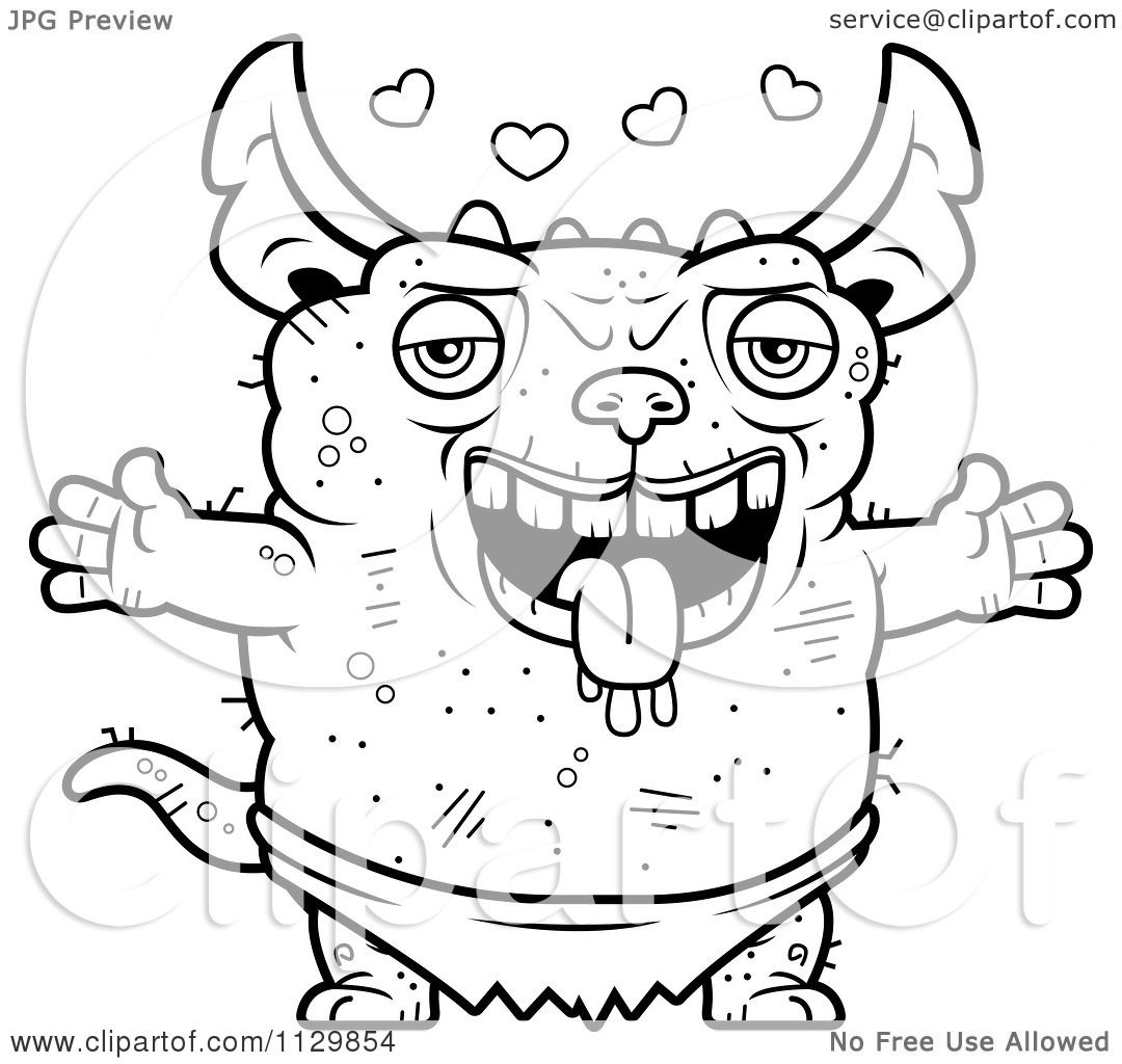 Cartoon Clipart Of An Outlined Amorous Pudgy Green Gremlin