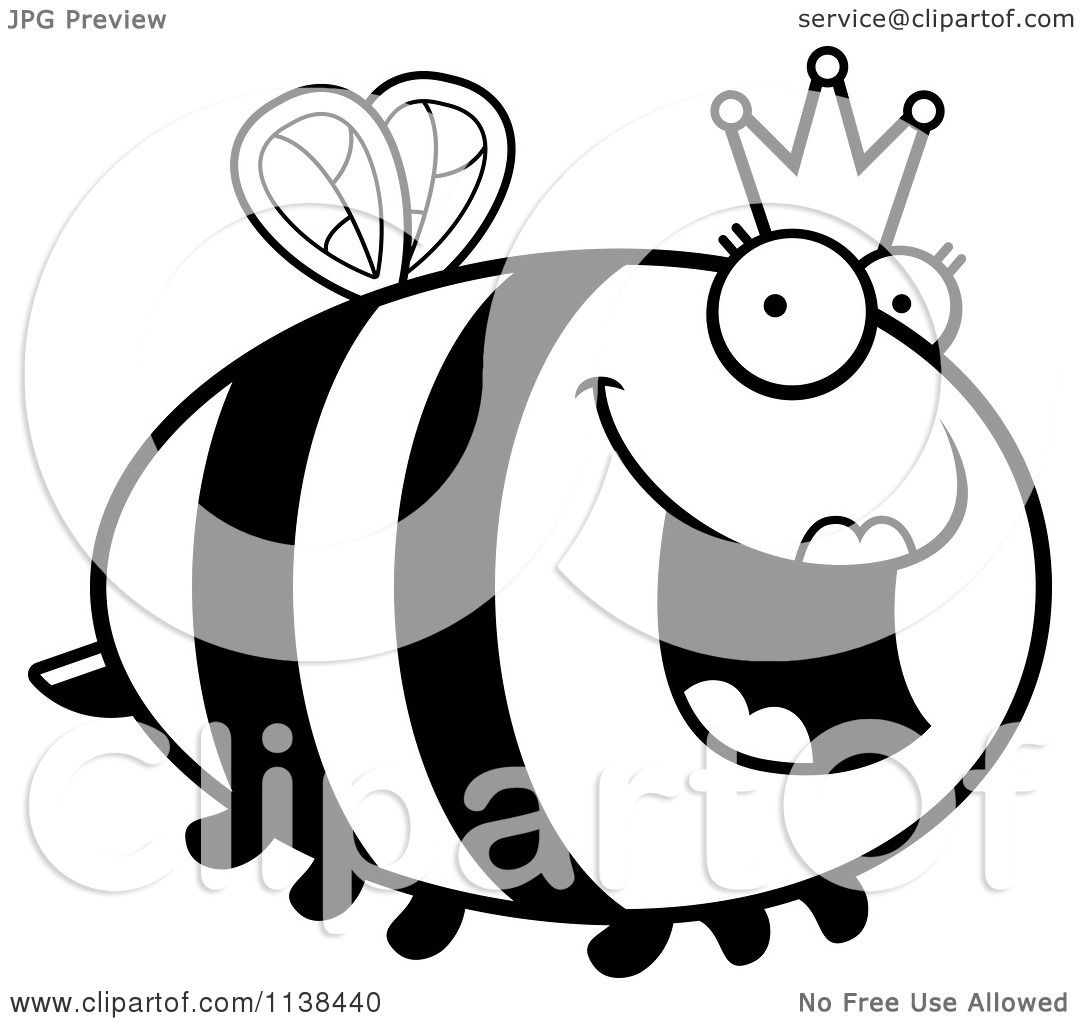 Cartoon Clipart Of An Outlined Chubby Queen Bee