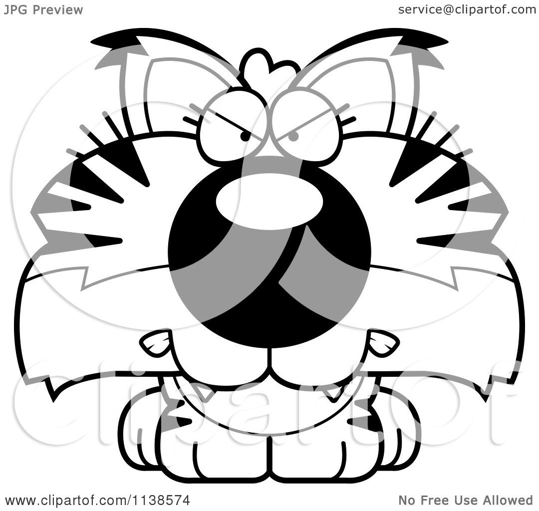 Cartoon Clipart Of An Outlined Cute Angry Bobcat Cub