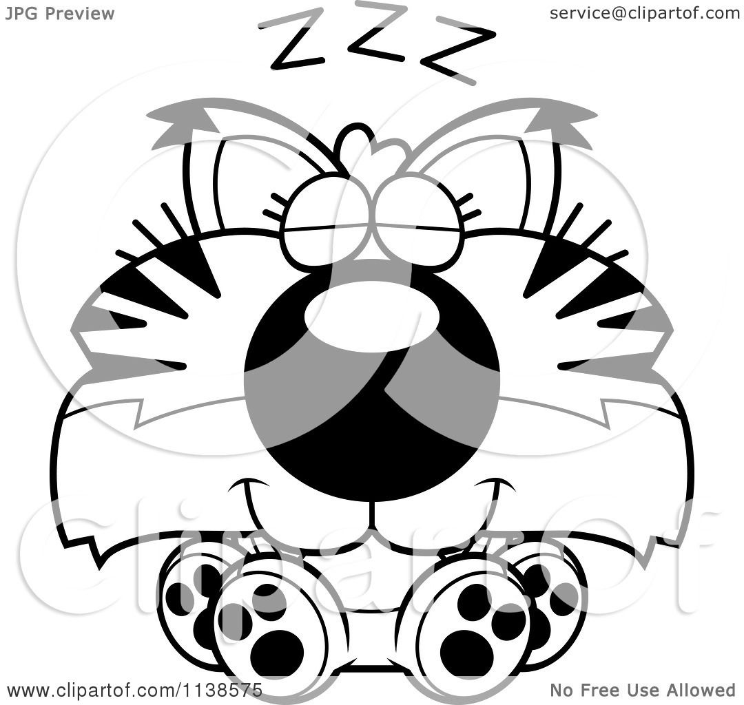 Cartoon Clipart Of An Outlined Cute Sleeping Bobcat Cub