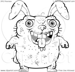 ugly rabbit cartoon drooling coloring clipart outlined cory thoman vector