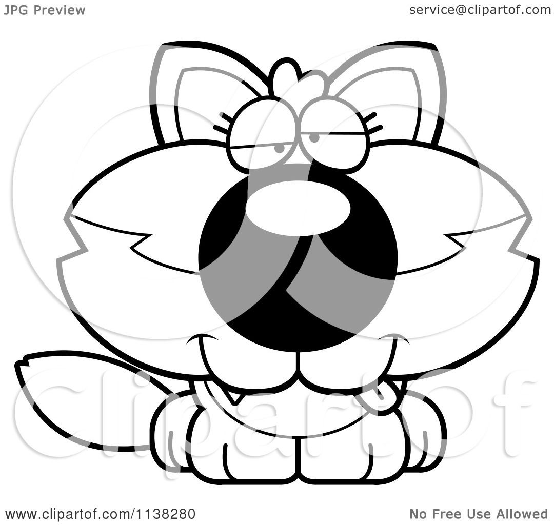 Cartoon Clipart Of An Outlined Goofy Baby Wolf