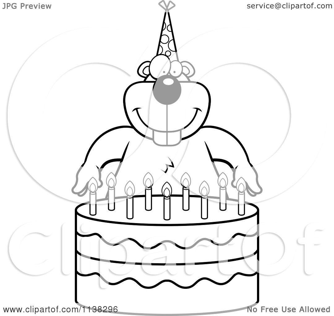 Cartoon Clipart Of An Outlined Gopher Making A Wish Over