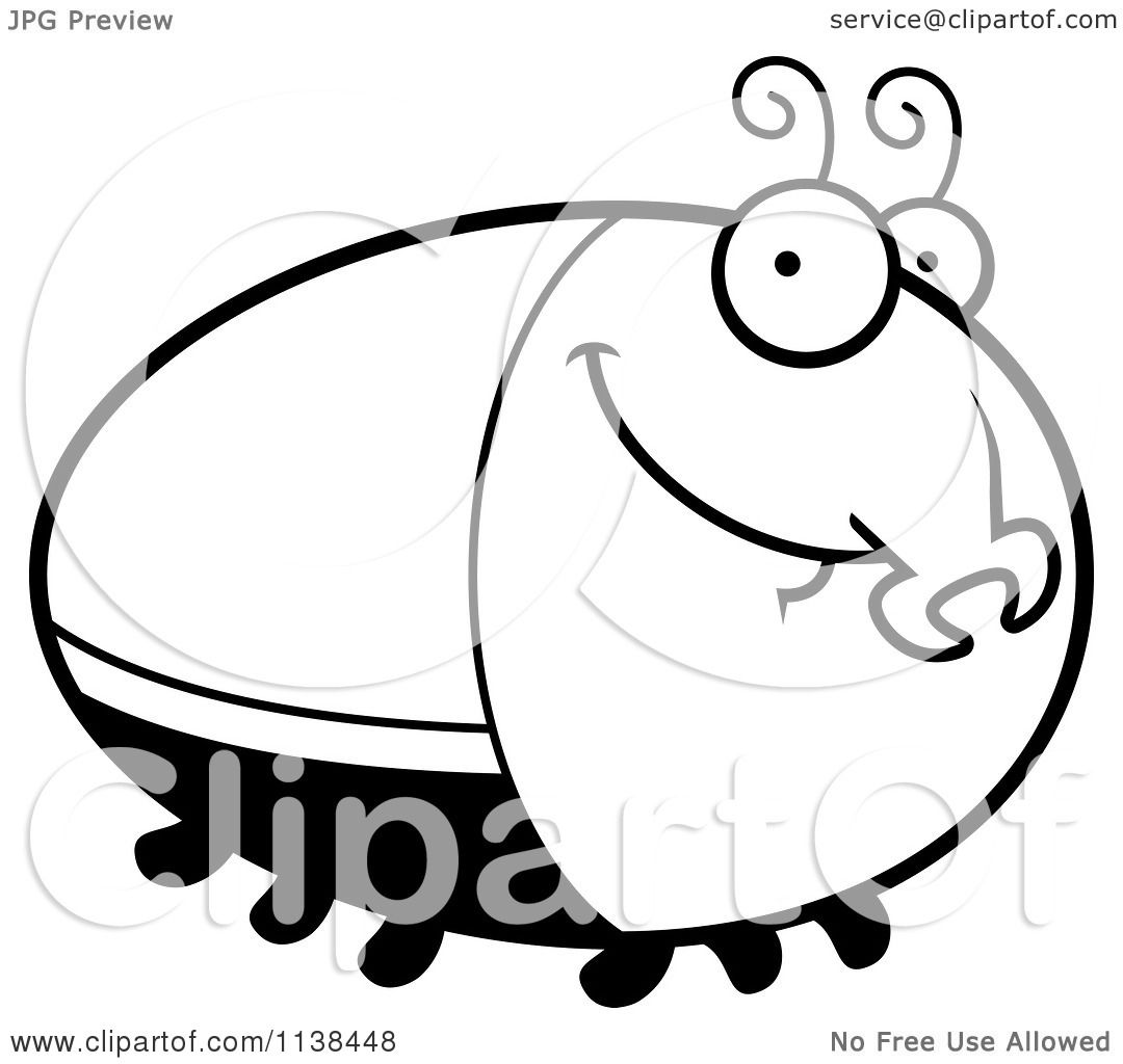 Cartoon Clipart Of An Outlined Grinning Beetle