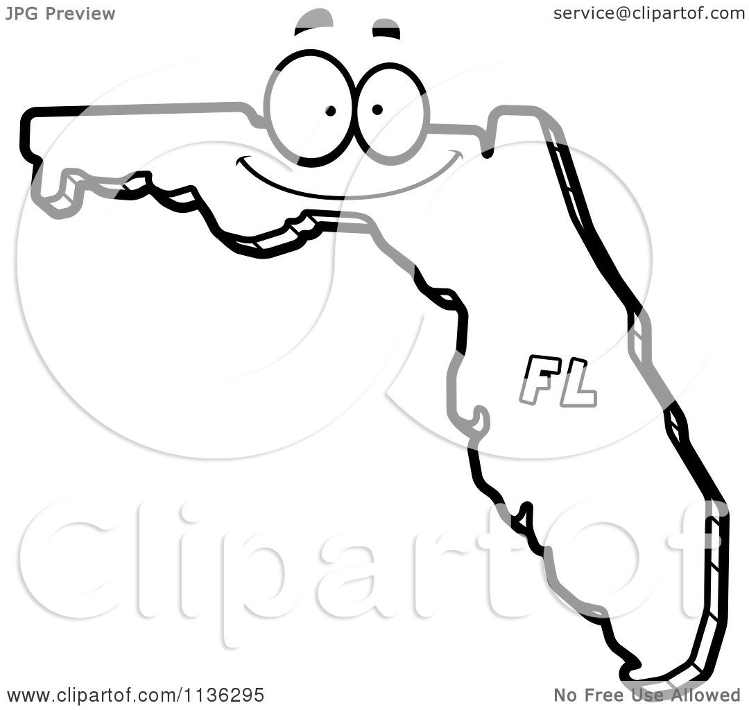 Cartoon Clipart Of An Outlined Happy Florida State