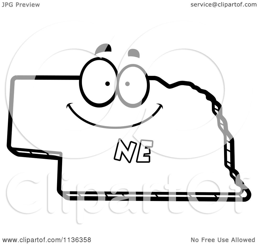 Cartoon Clipart Of An Outlined Happy Nebraska State