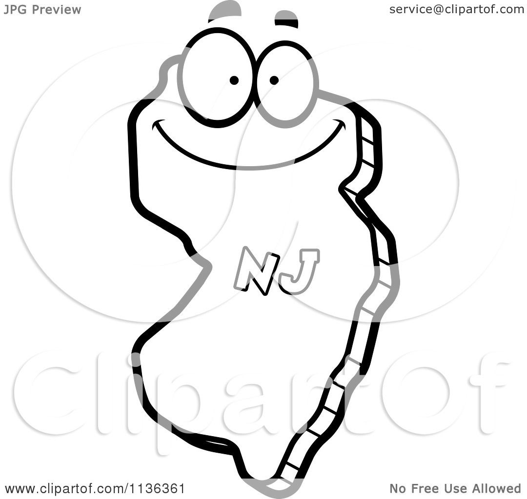 Cartoon Clipart Of An Outlined Happy New Jersey State