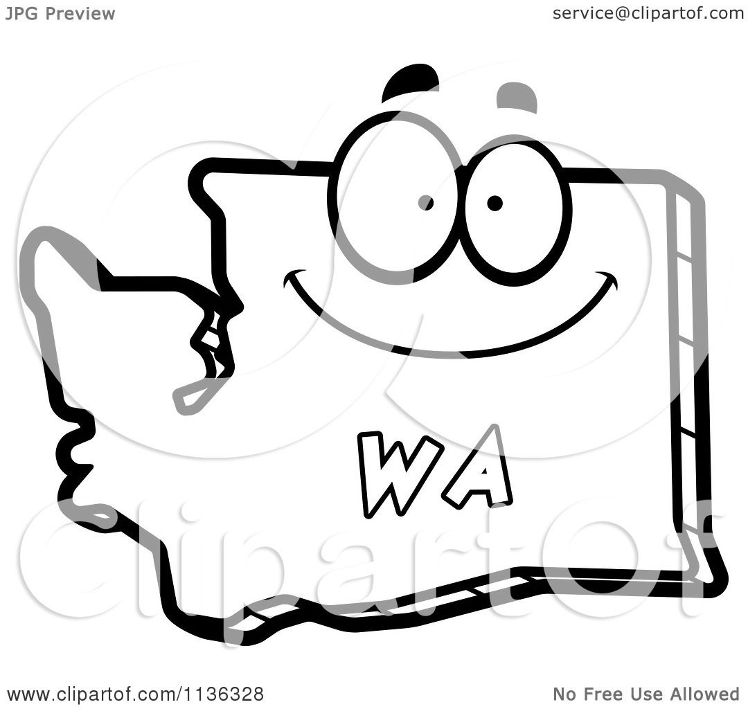 Cartoon Clipart Of An Outlined Happy Washington State