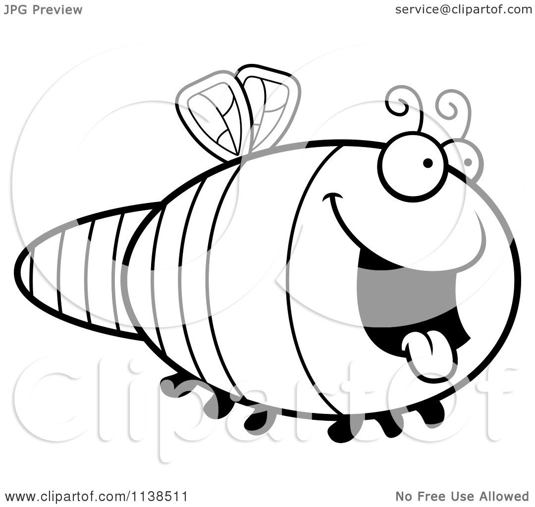 Cartoon Clipart Of An Outlined Hungry Dragonfly