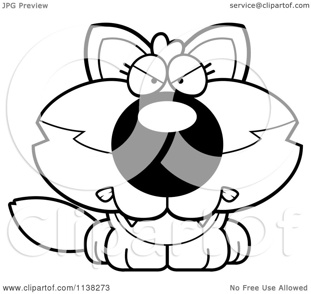 Cartoon Clipart Of An Outlined Mad Baby Wolf