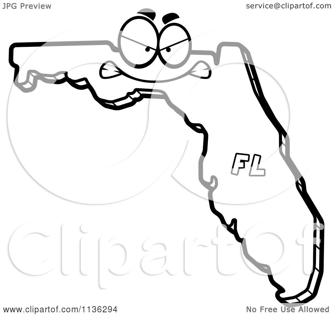 Cartoon Clipart Of An Outlined Mad Florida State Character
