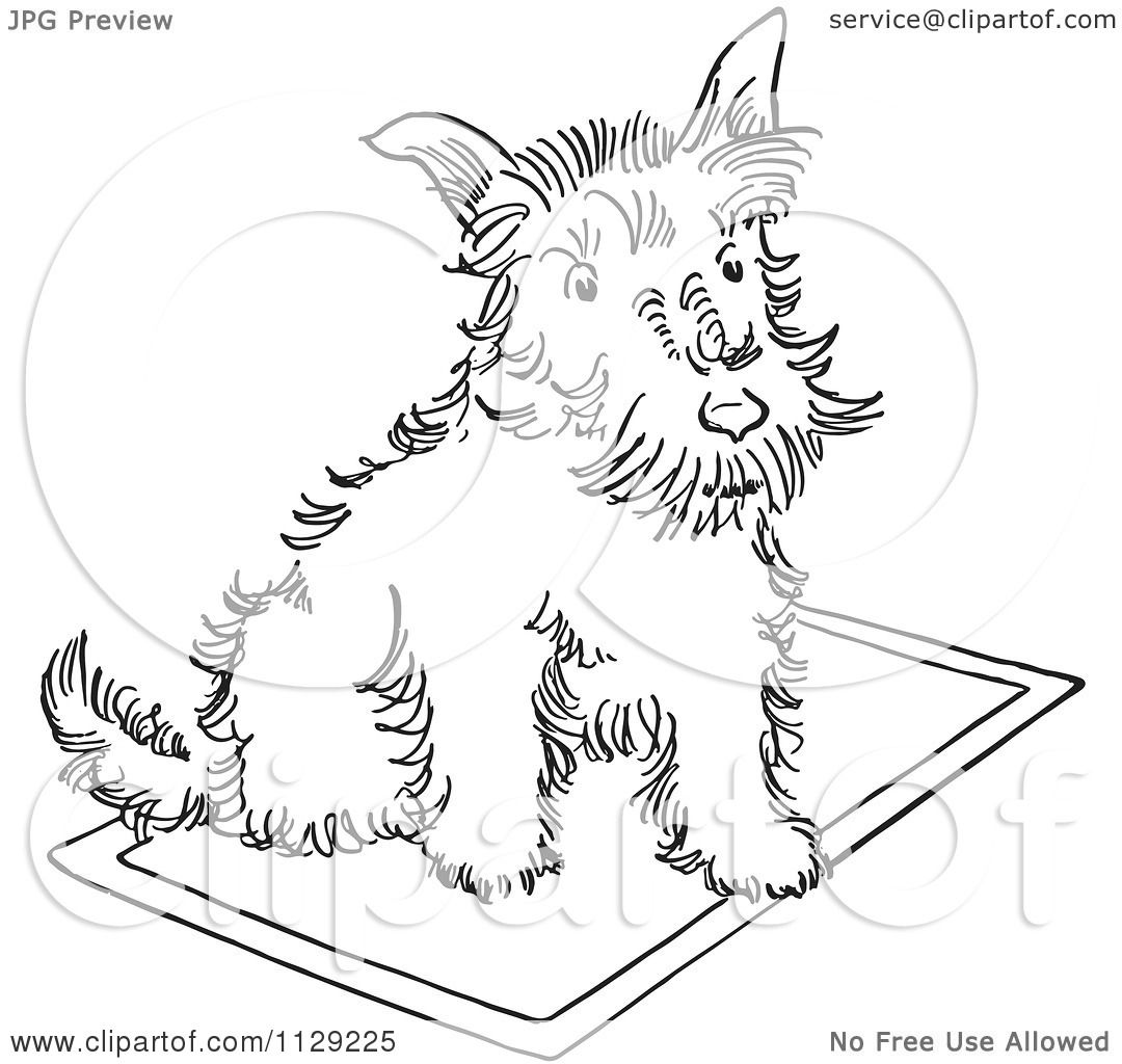 Cartoon Clipart Of An Outlined Scottie Dog On A Rug