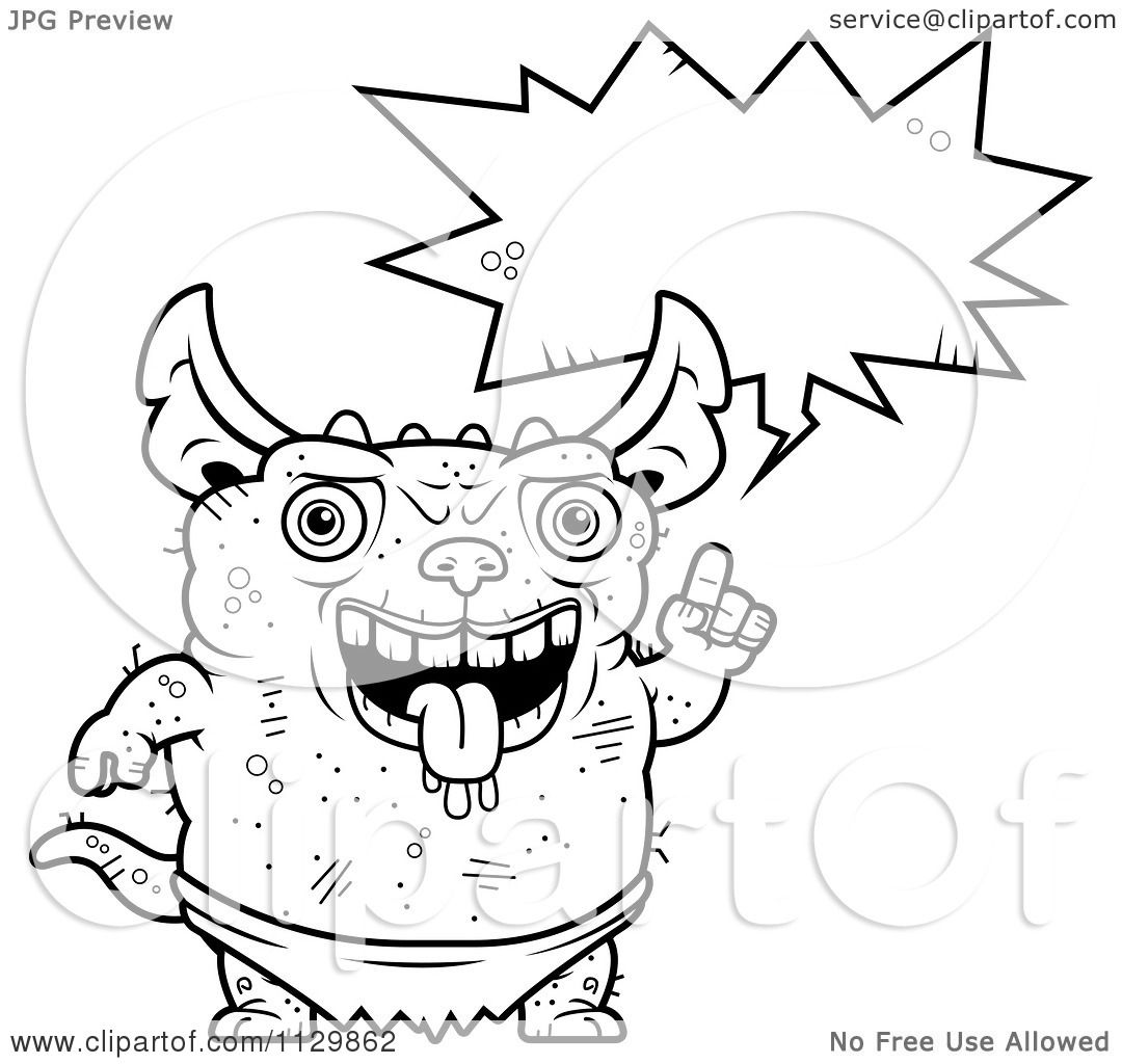 Cartoon Clipart Of An Outlined Talking Pudgy Green Gremlin