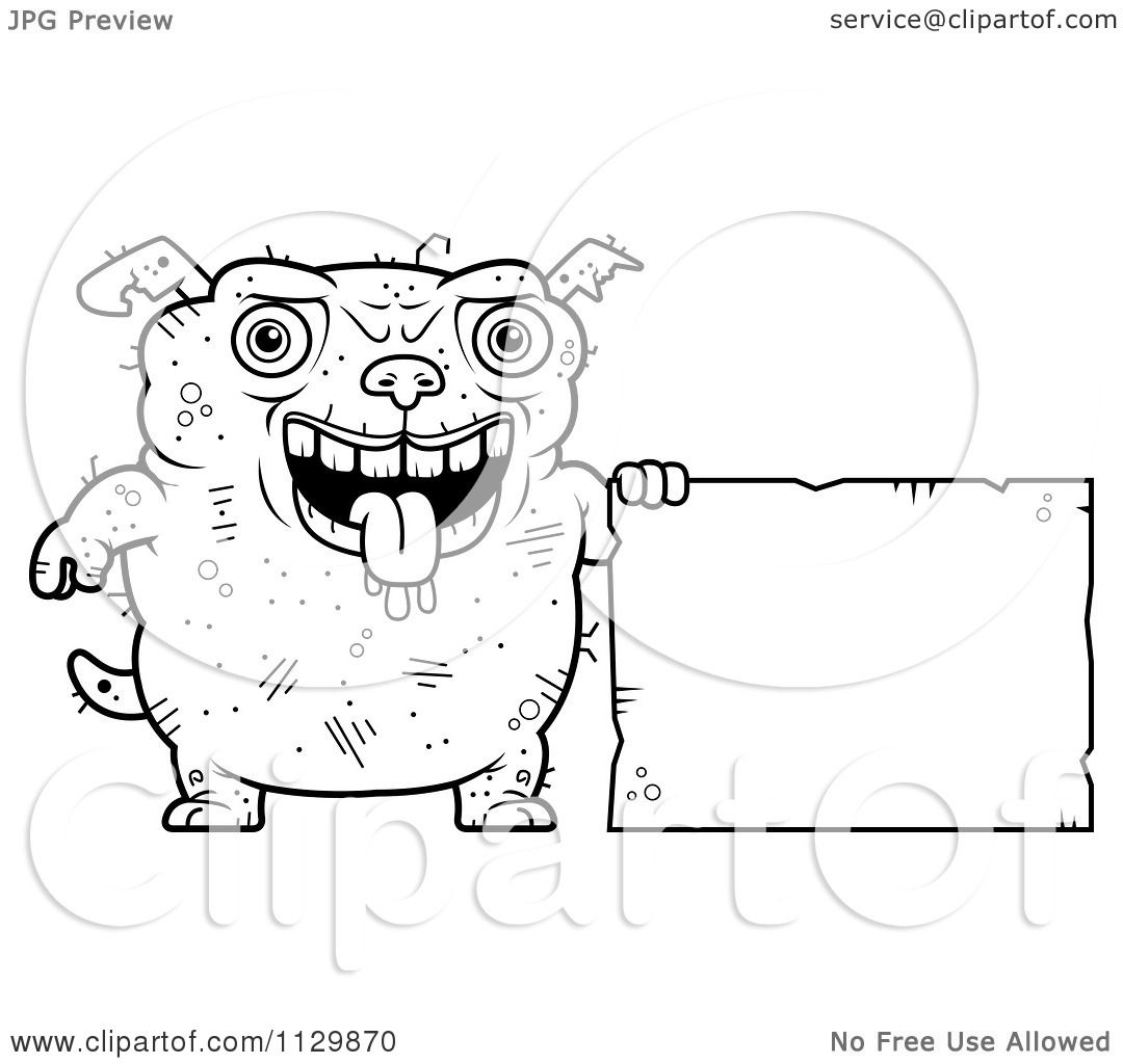 Cartoon Clipart Of An Outlined Ugly Dog Holding A Sign