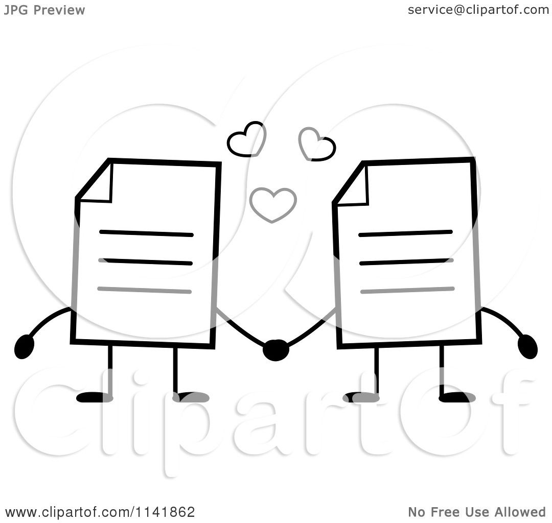 Cartoon Clipart Of Black And White Note Document Mascots