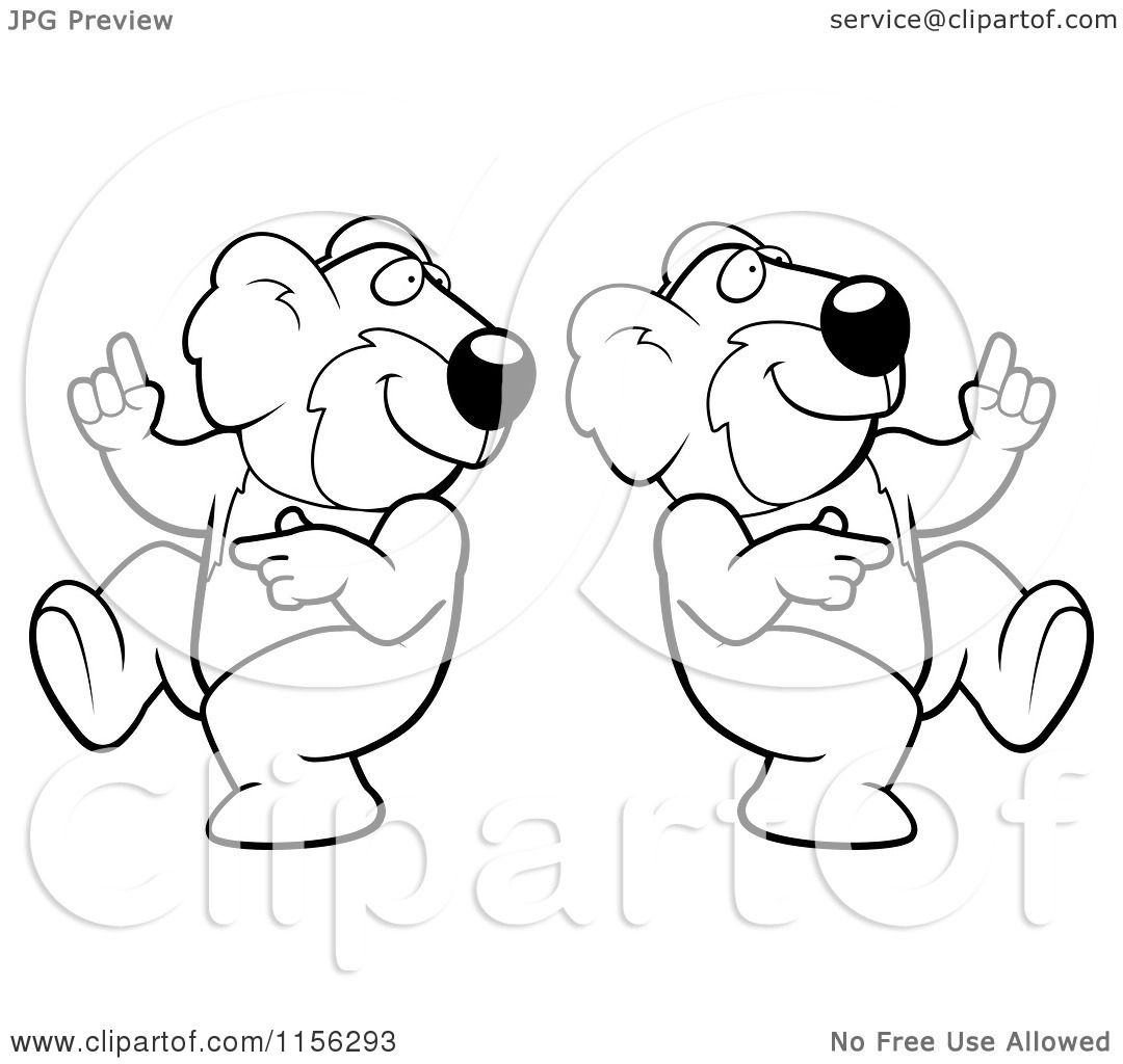 Cartoon Clipart Of Black And White Two Dancing Koalas