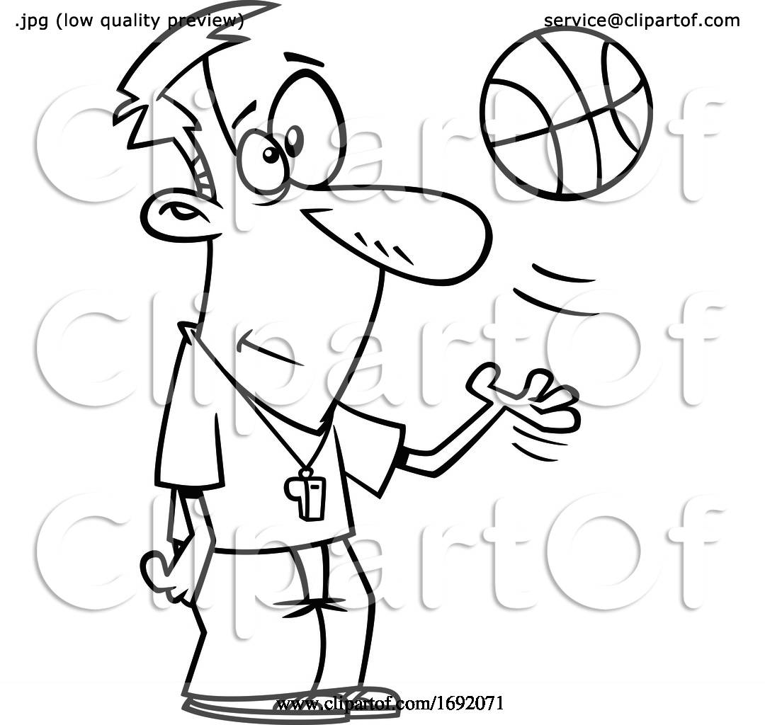 Cartoon Lineart Basketball Referee By Toonaday